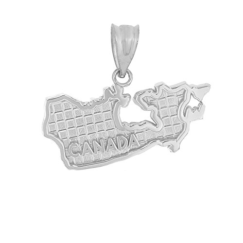 925 Sterling Silver Country Map Of Canada Charm Pendant