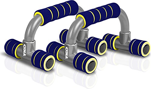 TKO Angled Push Up Foam Padded Bar Stand (1 Pair), Navy/Yellow