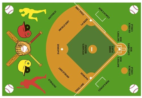 Fun Rugs FT-122 3958 Baseball Field Childrens Rug, 39-Inch by - Rug Runner Baseball
