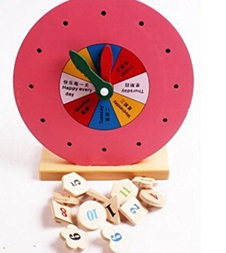 Baby Toddler Kids Gifts Colorful Educational Wooden Clock Toy Early Learning Time Number Shapes Color Cognitive Toy for Kids
