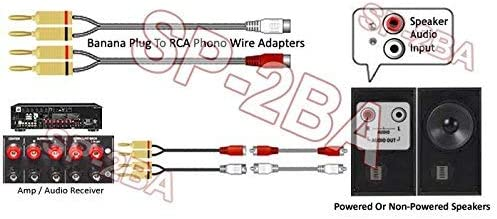 Gaozo Speaker Banana Plug To Stereo RCA L//R Phono Adapter For Amp Receiver