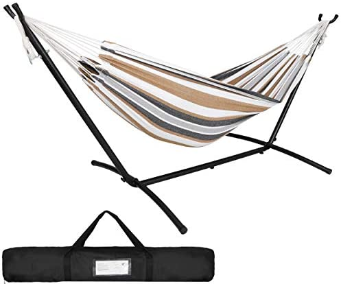 SUPER DEAL Portable 2-Person Brazilian Hammock with 9FT Metal Stand – Weather Resistant Double Hammock and Stand – Carrying Case Included, 450LBS Capacity, 6 Optional Hook Positions