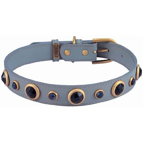 Blue Sand Stone & Sodalite Imperial Gray Leather Dog Collar - Extra Large