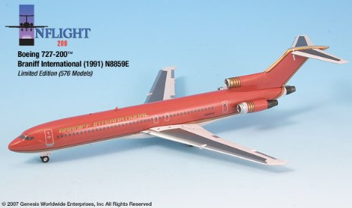 Braniff Ultra Red/Gold Boeing 727-200 Airplane Miniature Model Diecast 1:200 Part# A012-IF722009 ()