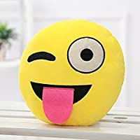 PRACHI Toys Smiley Thick Plush Pillow Round Cushion Pillow Stuffed /Gift for Kids/for Birthday Gift -30CM , Yellow (Naughty Smiley)