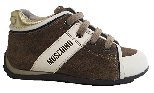 Moschino Sneaker Leder Schnürschuhe braun gold