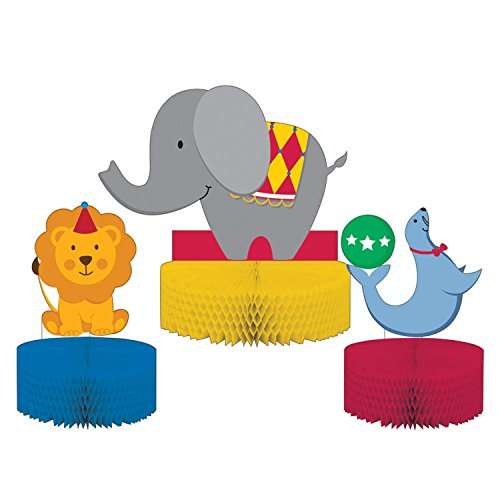 Party Central Pack of 6 Subtly Colored Circus Themed Decorative Centerpiece Standup -