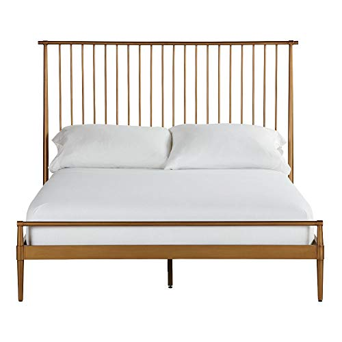 Brass Full Size Bed Frame - Ethan Allen Emmett Metal Bed, Full, Vintage Brass
