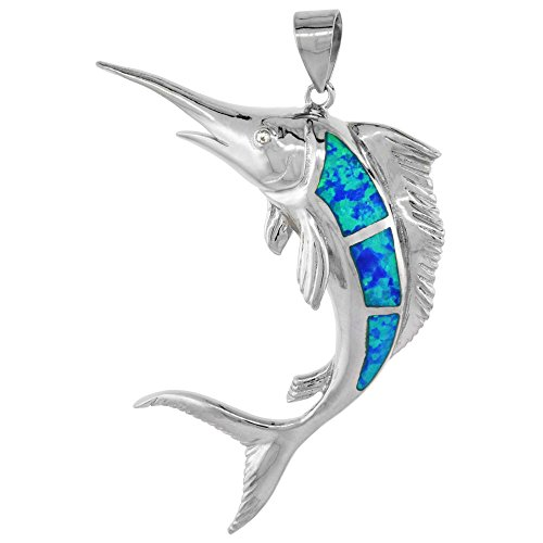 - Sterling Silver Synthetic Opal Marlin fish Pendant Hand Inlay Cubic Zirconia Accent 1 7/8 inch tall