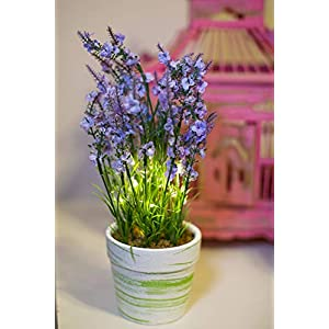 Orchid and Ivy Lighted Artificial Lavender Flower Plant with Timer - Battery Operated with 15 Lights 83