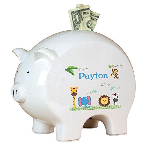 Personalized Jungle Animals Boy Piggy Bank