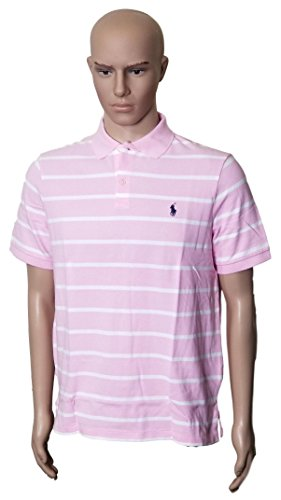 Fit Rugby Classic Striped - Polo Ralph Lauren Mens Classic Fit Pony Logo Striped Polo Shirt (M, PinkWhit)