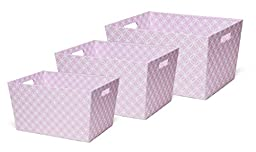 Delta Children Deluxe Totes, Pink Geometric, 3 Count