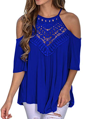 MIHOLL Women's Casual Tops Lace Off Shoulder Short Sleeve Loose Blouse Shirts (Large, Z- Blue)