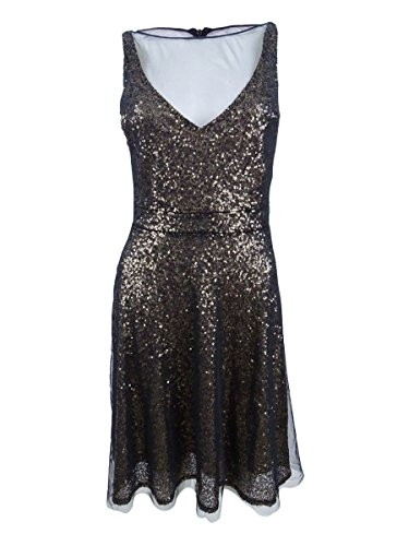 (Betsey Johnson Women's Short Cocktail Sequins Dress, Black, 4 )
