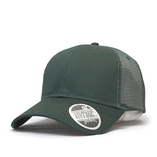 Vintage Year Brushed Denim Sandwich Visor Low Profile Mesh Snapback Baseball Cap (Dark Green) ()