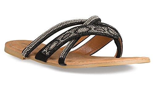 Beaded Strap Flip Flop (Twisted Women's Daisy Faux Leather Beaded Strap Sandal - DAISY675 BLACK, Size 6)