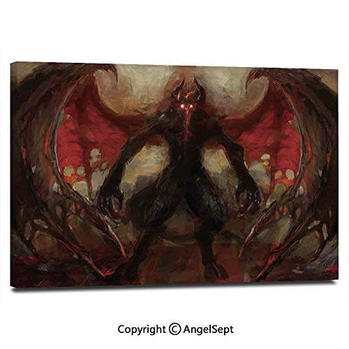 Modern Gallery Wrapped Devil Shadow with Wings Primary Opponent of Good Rising Hell Afterlife Image Decorative Pictures on Canvas Wall Art Ready to Hang for Living Room Kitchen Home Decor,12