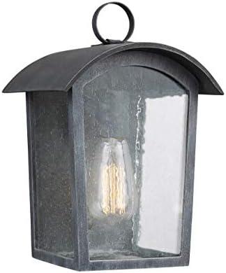 Feiss OL13300ABLK Hodges StoneStrong Outdoor Patio Lighting Wall Lantern, 1-Light, 60 Watt, Black 7 W x 12 H