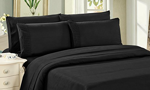 Bamboo Living Eco Friendly Egyptian Comfort Bedding 6 Piece Sheet Set with 4 Pillowcases, Black Color, Queen Size - Bamboo Queen Quilted Coverlet