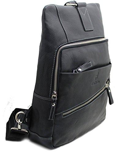 StarHide Leather Sling Kindle 540 Cross Ipad Women's Messenger Black Backpacks Men's Real for bag Tablet body Rucksack Shoulder Travel rqwFIrX