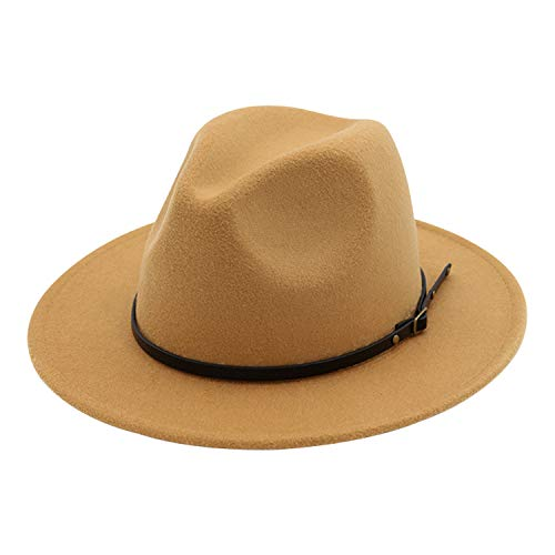 DRESHOW Fedora Hat for Women Felt Panama Hat with Belt Buckle Foldable Roll Up Beach Cap Sun Hat UPF 50+