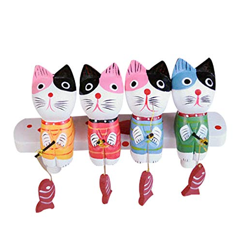 DSZXHN Statues for Home Decor,Creative 4Pcs Wooden Painted Cute Fishing covid 19 (Cat Fishing Sculpture coronavirus)