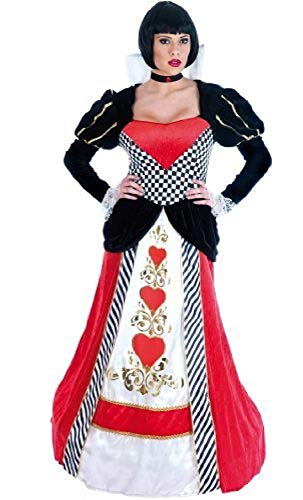 Ladies Deluxe Queen of Hearts Alice in Wonderland Long Length Hooped Hem Halloween Book Day Fairy Tale Fancy Dress Costume Outfit UK 6-26 Plus Size (UK 16-18) Red/Black ()