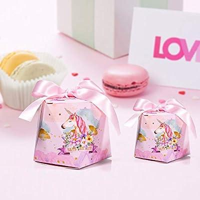 30 x Cajas de Caramelo Unicornio con Cintas, MOOKLIN Forma de Diamante Cajas de Favor Rosado de Papel para Invitados de Fiesta aniversario de boda ...