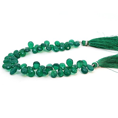 Semi Precious Natural Faceted Green Onyx Briolette Gemstone Beads Flat Tear drop Shape 1 Line 8 inch 8 -10 mm Jewelry Making Bracelet Earrings Necklace (Faceted Flat Beads Teardrop)