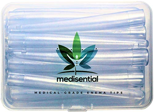MEDISENTIAL Enema Nozzle Tips (Box of 12) - BPA/Phthalates Free, Comfortable and Flexible PVC