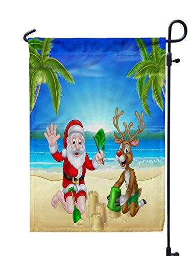 GROOTEY Garden Flag Stand,Welcome Garden Flag Cartoon Santa Christmas Reindeer Playing Beach Making by The Tropical Palm Trees a Sandcastles 12X18 Inches,Garden Flag Set,White Green (Garden Palm Flower Beach)