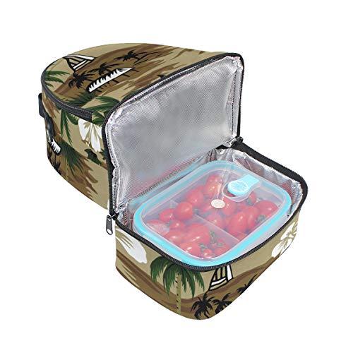 el hombro palmera Retro para Alinlo de almuerzo con de para diseño Bolsa coco el térmica correa ajustable xIdBqda8