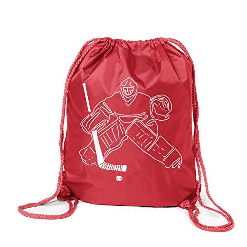 (ChalkTalkSPORTS Hockey Sport Pack Cinch Sack | Hockey Goalie Sketch | Red)