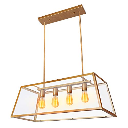 - Paragon Home 4-Light Kitchen Island Pendant Lighting, Antique Brass Shade with Clear Glass Panels, Dining Room Lighting Fixtures, Modern Industrial Chandelier, E26 Base (Bulbs Not Included)