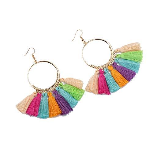 Boho Tassel Earrings Hoop Dangle Ear Drop for Women (Colorful-2)