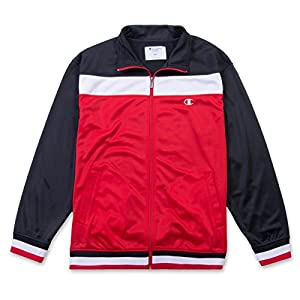 Champion Men's Long Sleeve Tricot Track Jacket Zipper Pockets Athletic Exercise Striped Red/Black/White XLT