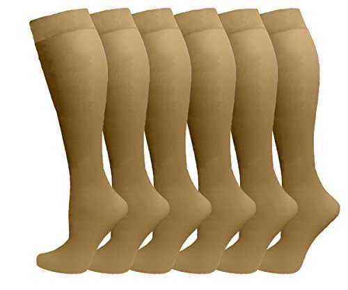 Ladies 6 Pair Pack Compression Socks (Beige) by Dr. Motion
