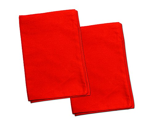 2 Red Toddler Pillowcases – Envelope Style – for Pillows Sized 13×18 and 14×19-100% Cotton with Percale Weave – Machine…