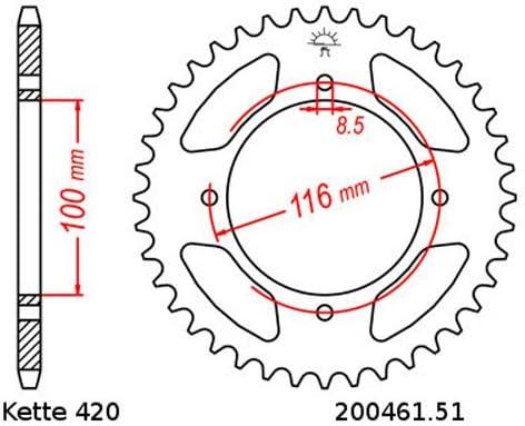 Kettensatz geeignet f/ür Kawasaki KX 85 B Big Wheel 01-15 Kette RK CG 420 SB 130 offen GR/ÜN 13//51