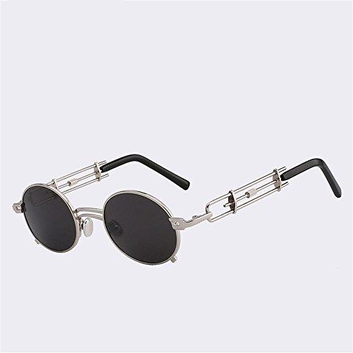 Gafas moda400 negro Negro Redondo Vintage Anteojos Sombras espejo Astilla Caminante SYXSN Exteriores Viajar de Protectora con Playa UV Metal 1HdwxS