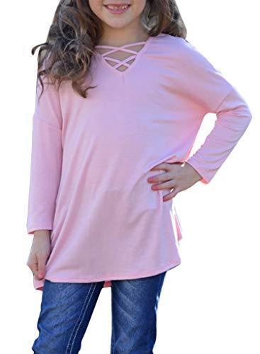 Bulawoo Girl's Casual Long Sleeve Tops Blouse Solid Color Crisscross Cute T...