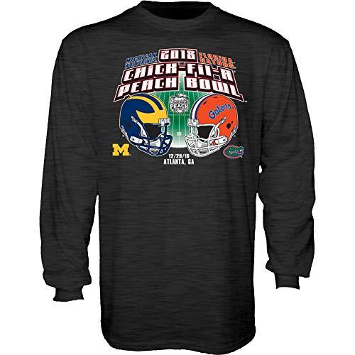 Michigan Wolverines Bowl - Elite Fan Shop Florida Vs Michigan Peach Bowl Long Sleeve Tshirt 2018 Charcoal - M