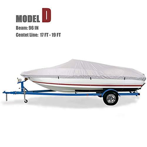 GOODSMANN Trailerable Marine Grade Boat Cover Heavy Duty 150D Fits V-Hull Fishing & Pro-Style Bass Boats D Fits 17'-19' V-Hull Boats, Beam Width to 96