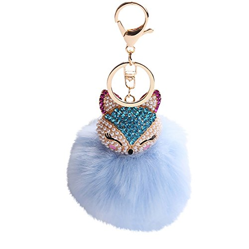 8CM Fox Fur Ball with Artificial Fox Head Inlay Pearl Rhinestone Key Chain,Outsta 2019 Fashion Jewelry Hot Sale!Under 5 Dollars Gifts for Her