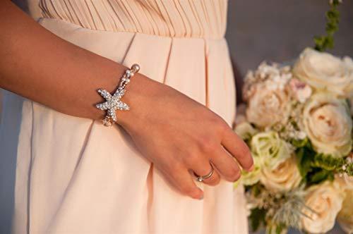 Rose gold Rhinestone starfish bracelet, Beach wedding bracelet, Bridal jewellery, Starfish beaded bracelet, Bridesmaid gift