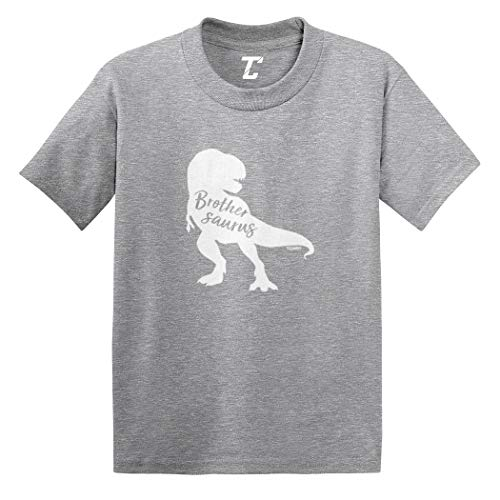 Brothersaurus - Brother Dinosaur T Rex Infant/Toddler Cotton Jersey T-Shirt (Light Gray, 2T) (Name Last Brothers Property)