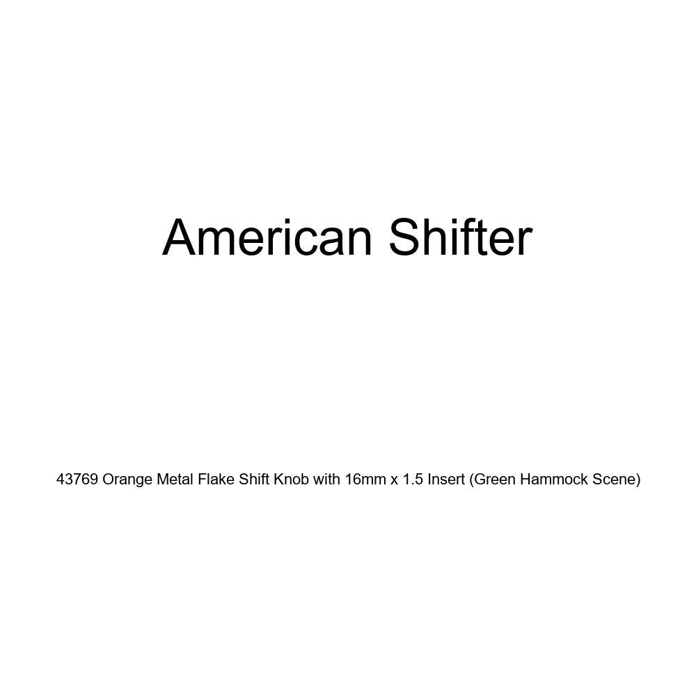 American Shifter 43769 Orange Metal Flake Shift Knob with 16mm x 1.5 Insert Green Hammock Scene