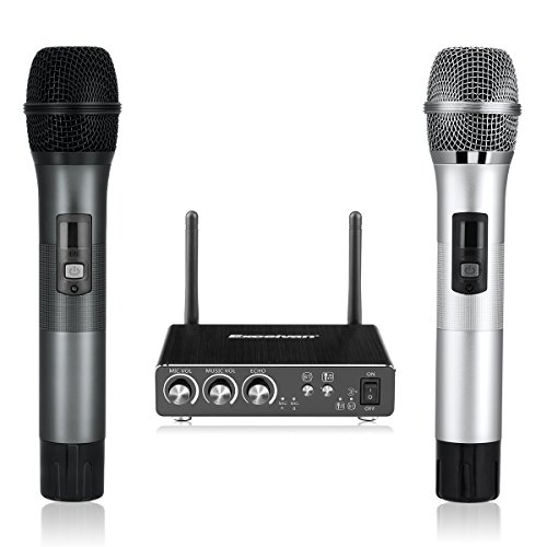 Excelvan K28 Dual Wireless Karaoke Microphone Bluetooth with Receiver Box Various Frequency Full-Metal for Home KTV Education (Grey+Silver) Karaoke Box