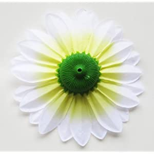 "(2) Silk White Big Sunflowers sun Flower Heads , Gerber Daisies - 5.5"" - Artificial Flowers Heads Fabric Floral Supplies Wholesale Lot for Wedding Flowers Accessories Make Bridal Hair Clips Headbands Dress 2"